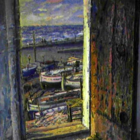 Geöffnete tür  Blick durch geöffnete Tür auf südlichen Strand mit Fischerbooten ...