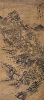 秋山图 立轴 绢本 by wen zhengming