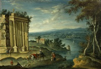 an extensive landscape with classical ruins and travellers in the foreground by anglo-flemish school (18)