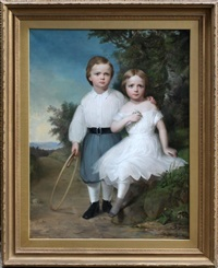 portrait of young boy and girl by american school