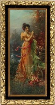 lady in the garden by hans zatzka