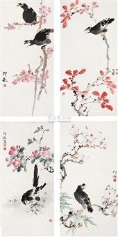 flower and bird (4 works) by liao lang