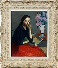 pensive seated lady by moses soyer