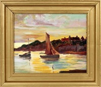coastal landscape with sailboats by fern isabel coppedge