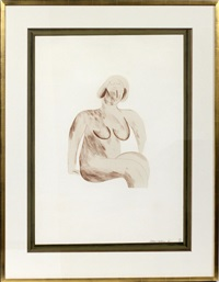 picture of a simple framed traditional nude drawing (from a hollywood collection) by david hockney