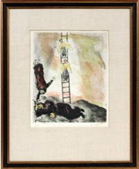 jacob's ladder (from la bible) by marc chagall