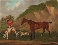 reiter mit pferd, erlegtem fuchs und hunden by john nost sartorius