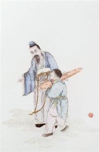 携琴访友瓷板 (porcelain plaque) by liu xiren