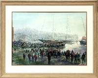the launching of the yacht scheherezade by john gable