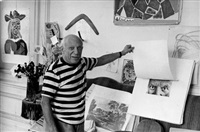 picasso in his studio, villa la californie, cannes by rené burri