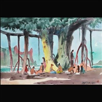 hawaiian natives under banyan tree by jade fon