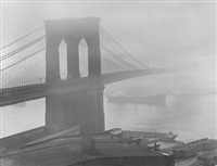brooklyn bridge in fog by andreas feininger