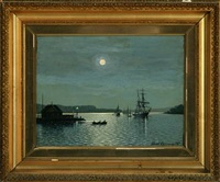 moonlight with sailing ships in the roads, svendborgsund by albert kromann