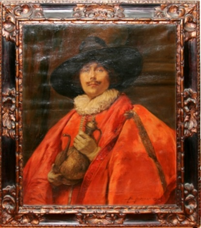 cavalier holding an ewer by alex de andries