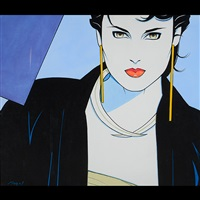 portrait of a woman in a black coat by patrick nagel