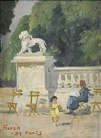 liten flicka med tunnband - parkbild från paris by greta gerell
