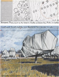 wrapped trees, project for the fondation beyeler and berower park, riehen, switzerland by christo and jeanne-claude