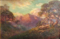 oak trees with mountains in the distance by jules r. mersfelder