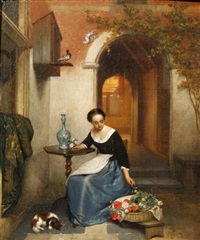 lady arranging flowers by hubertus van hove