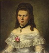 portrait einer jungen dame im spitzenkleid mit roter rose und diamantanhänger by heinrich paul