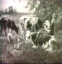tending the cows by jose maria jardins