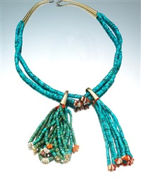 a hopi necklace with jaclas suspensions by charles loloma