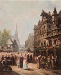 markt in einem kleinen städtchen by guillaume françois colson
