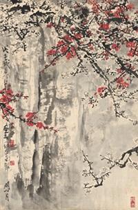 峭壁雪梅图 (plum blossom on cliff) by guan shanyue