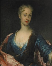 porträtt av oidentifierad dam iklädd djupblå klänning med pälsbräm och röd mantel, midjebild by david richter the younger