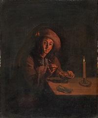 bildnis eines mannes mit schlapphut, eine schale mit glut in händen haltend by pieter cornelisz van slingeland
