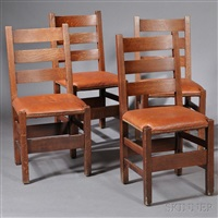 dining chairs (4 works) by gustav stickley