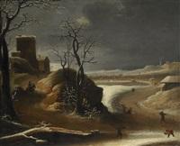 vinterlandskap med figurer by abraham beerstraten