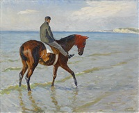 kapplöpningshäst i vattenbrynet - deauville by johan georg arsenius