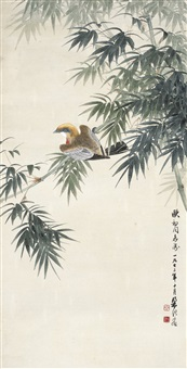 竹枝栖禽图 (birds on bamboo branches) by liang ji