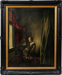 girl reading a letter at an open window by johannes (van delft) vermeer