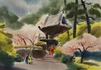 japanese tea garden and figures along palace wall (2 works) by jade fon