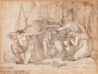 oedipus verflucht seinen sohn polyneikes (study for painting) by henry fuseli