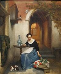 lady arranging flowers by hubertus van hove