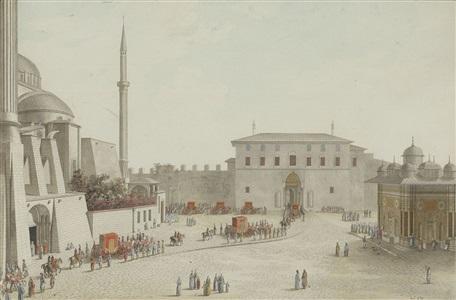 porte d´entrée du sérail et voitures des cadines du sultan by nicolas louis de lespinasse