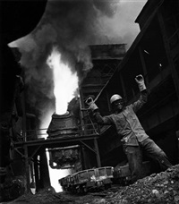 worker with raised arms, from the series: taft & ohio railroad by w. eugene smith