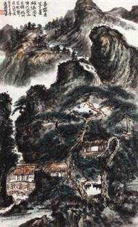 吾家茅屋 (landscape) by liu zhaoping