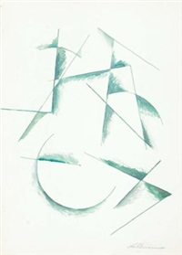 untitled (composition in green) by alexander vesnin