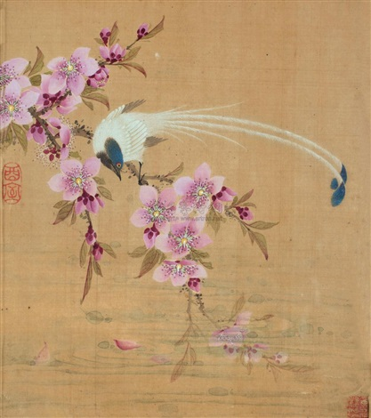 bird and peach blossoms by wang guxiang