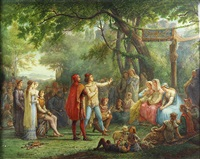 wedding scene in the woods by jean baptiste françois arnaud-durbec