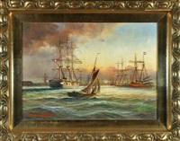 segelschiffe auf see by alfred jensen