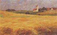 getreidefelder mit dorf im mittelgrund by anny lierow
