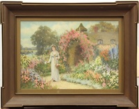 lady in a garden by a cottage by william affleck