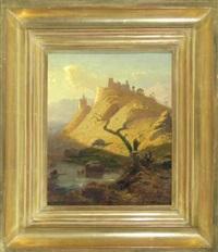 kastell auf einem berg am ufer der mosel by hermann kramer