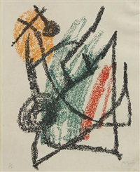 three works from the je travaille comme un jardinier series by joan miró