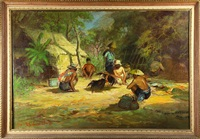 figures in a village clearing by sudjono abdullah